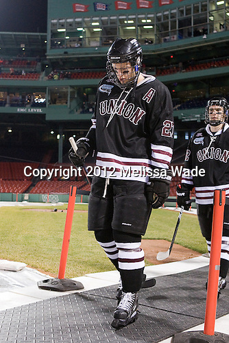 Jeremy Welsh (Union - 27) - The Union College Dutchmen defeated the Harvard University Crimson 2-0 on Friday, January 13, 2011, at Fenway Park in Boston, Massachusetts.