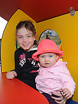 Ella Nawn and Shauna Matthews pictured at the opening of the new playground in Dunleer. Photo: Colin Bell/pressphotos.ie