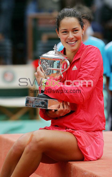 PICTURE BY DAVE WINTER/SWPIX.COM - Tennis - French Open 2008 - Women's Final, Ana IVANOVIC v Dinara SAFINA - Roland Garros, Paris, France - 07/06/08...Copyright - Simon Wilkinson - 07811267706..Serbia's Ana IVANOVIC.
