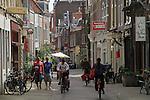 Cobblestone street in Haarlem, Holland, the Netherlands.