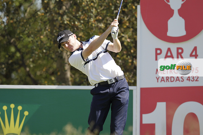 Michael Hoey (NIR) tees off the 10th tee during Thursday's Round 1 of the 2014 Open de Espana held at the PGA Catalunya Resort, Girona, Spain. Wednesday 15th May 2014.<br /> Picture: Eoin Clarke www.golffile.ie