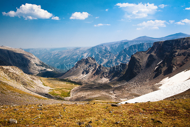 mountains to the east of sundance pass as seen descending from the pass to september morn lake in the absaroka beartooth wilderness in montana