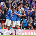 18.07.2019: Rangers v St Joseph's: Andy Halliday celebrates with Alfredo Morelos