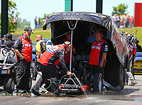 May 21, 2017; Topeka, KS, USA; Crew members for NHRA funny car driver Del Worsham during the Heartland Nationals at Heartland Park Topeka. Mandatory Credit: Mark J. Rebilas-USA TODAY Sports