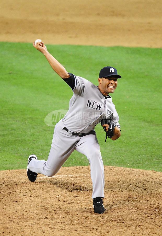Jun. 23, 2010; Phoenix, AZ, USA; New York Yankees pitcher Mariano Rivera pitches in the ninth inning against the Arizona Diamondbacks at Chase Field. Mandatory Credit: Mark J. Rebilas-