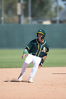 Oakland Athletics infielder Max Schuemann (45) holds at second base during an Instructional League game against the Chicago White Sox at Lew Wolff Training Complex on October 5, 2018 in Mesa, Arizona. (Zachary Lucy/Four Seam Images)