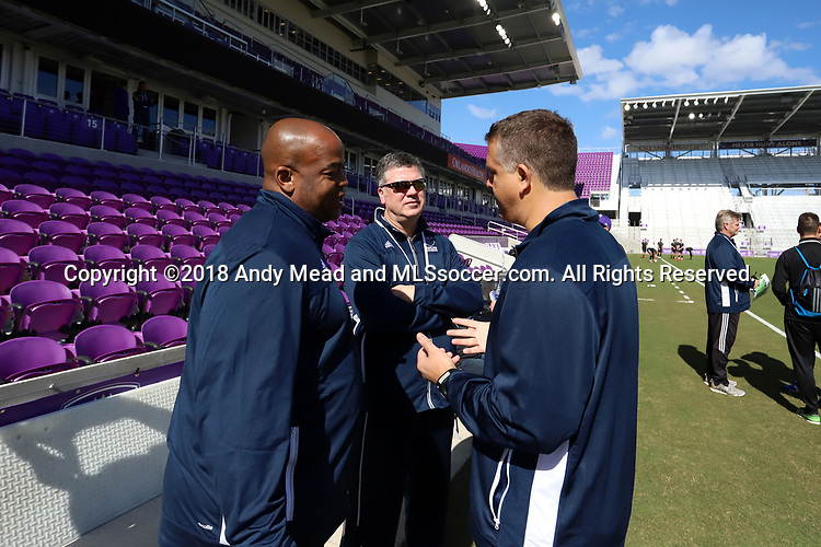 Orlando, Florida - Monday January 15, 2018: Kris Kelderman listens to Bo Oshoniyi and Todd Yeagley. Match Day 2 of the 2018 adidas MLS Player Combine was held Orlando City Stadium.