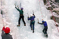 "Female Ice Climbers learning to climb on Frozen Waterfall (Crown Lake Falls aka ""Icy BC"") at Ice Climbing Clinic, Marble Canyon Provincial Park, Southwestern BC, British Columbia, Canada"