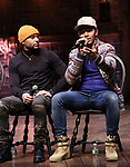 "Terrance Spencer and Anthony Lee Medina during the eduHAM Q & A before The Rockefeller Foundation and The Gilder Lehrman Institute of American History sponsored High School student #EduHam matinee performance of ""Hamilton"" at the Richard Rodgers Theatre on November 13, 2019 in New York City."