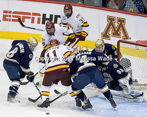 Justin Fontaine (Duluth - 37), Max Tardy (Duluth - 19), Sam Calabrese (Notre Dame - 8), Travis Oleksuk (Duluth - 11), Riley Sheahan (Notre Dame - 4), Mike Johnson (Notre Dame - 32), Sean Lorenz (Notre Dame - 24) - The University of Minnesota-Duluth defeated the University of Notre Dame Fighting Irish 4-3 in their 2011 Frozen Four Semi-Final on Thursday, April 7, 2011, at the Xcel Energy Center in St. Paul, Minnesota.
