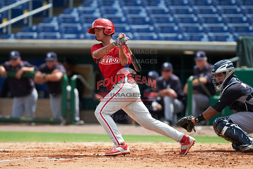 Philadelphia Phillies Jonathan Arauz (19) during an instructional league game against the New York Yankees on September 29, 2015 at Brighthouse Field in Clearwater, Florida.  (Mike Janes/Four Seam Images)