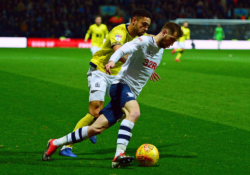 Preston North End's Tom Barkhuizen in action<br /> <br /> Photographer Richard Martin-Roberts/CameraSport<br /> <br /> The EFL Sky Bet Championship - Preston North End v Blackburn Rovers - Saturday 24th November 2018 - Deepdale Stadium - Preston<br /> <br /> World Copyright © 2018 CameraSport. All rights reserved. 43 Linden Ave. Countesthorpe. Leicester. England. LE8 5PG - Tel: +44 (0) 116 277 4147 - admin@camerasport.com - www.camerasport.com