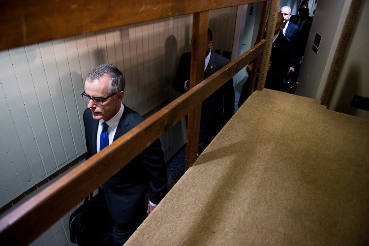 UNITED STATES - JUNE 7: Acting FBI Director<br /> Andrew McCabe walks through a back hallway as he arrives in the Hart Senate Office Building to testify during the Senate Select Intelligence Committee hearing on Wednesday, June 7, 2017. (Photo By Bill Clark/CQ Roll Call)
