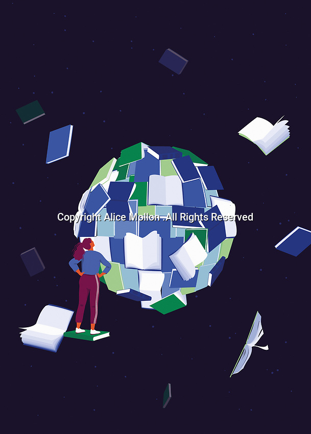 Woman looking at world made of books
