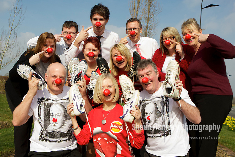Pix: Shaun Flannery/shaunflanneryphotography.com...COPYRIGHT PICTURE>>SHAUN FLANNERY>01302-570814>>07778315553>>..17th March 2011..............Miller Homes Yorkshire..Head office staff prepare for a 'fund raising' run in aid of Comic Relief 2011..L-R (back) Audra Pearson, Peter Bailey, Adam Patterson, Steve Birch, Diane Bray, Marie Mundy. (front) David Pearson, Debbie Swarbrick, Pauline Jeffs, Michelle Sumby, Tony Whitehouse.