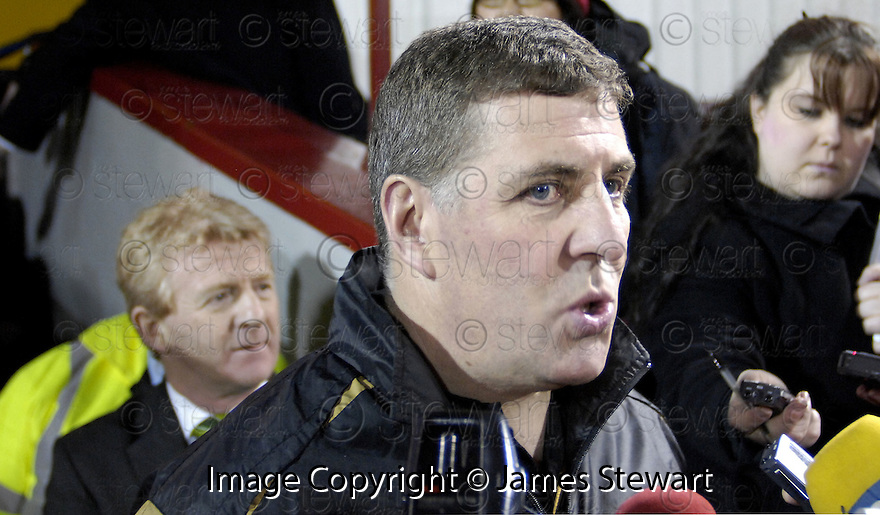 30/01/2008    Copyright Pic: James Stewart.File Name : sct_01_motherwell_v_celtic.MOTHERWELL MANAGER MARK MCGHEE IS INTERVIEWED ABOUT THE GAME AGAINST CELTIC BEING CALLED OFF JUST 45 MINS BEFORE KICK OFF.....James Stewart Photo Agency 19 Carronlea Drive, Falkirk. FK2 8DN      Vat Reg No. 607 6932 25.Studio      : +44 (0)1324 611191 .Mobile      : +44 (0)7721 416997.E-mail  :  jim@jspa.co.uk.If you require further information then contact Jim Stewart on any of the numbers above.........