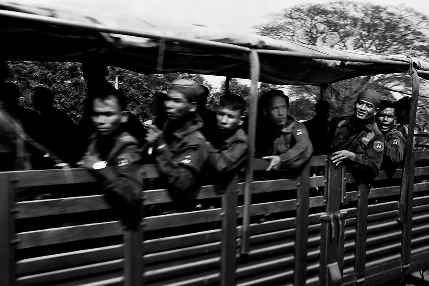 Historic ceasefires with armed groups, ending over six decades of fighting in eastern Karen State, have not brought a permanent settlement to the conflict. A military truck loaded with Tatmadaw (Myanmar army) soldiers in Hpa-an township.