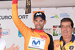 World Champion Alejandro Valverde (ESP) Movistar Team retains the race lead and takes back the points Green Jersey at the end of Stage 3 of the Route d'Occitanie 2019, running 173km from Arreau to Luchon-Hospice de France, France. 22nd June 2019<br /> Picture: Colin Flockton | Cyclefile<br /> All photos usage must carry mandatory copyright credit (© Cyclefile | Colin Flockton)