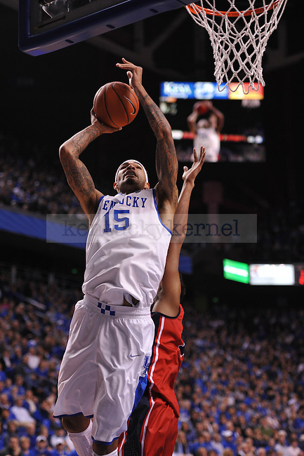 UK forward Willie Cauley-Stein (15) shoots the ball off the basket during the first half of the UK men's basketball team vs Ole Miss at Rupp Arena in Lexington, Ky., on Tuesday, February 4, 2014. Photo by Eleanor Hasken | Staff