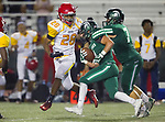 Torrance, CA 09/08/17 - Hawthorne's Poppy White (Hawthorne #28) is rounding the corner to stop South's Anthony Rugnetta (South #4) in the third quarter.