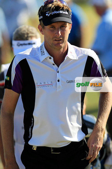 David Lynn (ENG) walks to the 18th tee during Sunday's Final Round of the 2013 Portugal Masters held at the Oceanico Victoria Golf Club. 13th October 2013.<br /> Picture: Eoin Clarke/www.golffile.ie