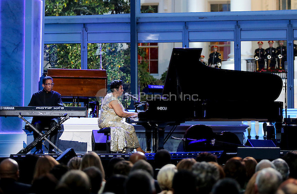 Herbie Hancock and Aretha Franklin perform at the International Jazz Day Concert on the South Lawn of the White House, in Washington, DC, April 29, 2016.  United States President Barack Obama delivered remarks to introduce the event. <br /> Credit: Aude Guerrucci / Pool via CNP/MediaPunch