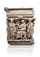 "End panel of a Roman relief sculpted Hercules sarcophagus with kline couch lid, ""Columned Sarcophagi of Asia Minor"" style typical of Sidamara, 250-260 AD, Konya Archaeological Museum, Turkey. Against a white background."