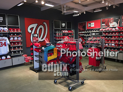 7 April 2016: A Nationals merchandise shop is ready for the fans prior to the Washington Nationals Home Opening Game against the Miami Marlins at Nationals Park in Washington, DC. The Marlins defeated the Nationals 6-4 in their first meeting of the 2016 MLB season. Mandatory Credit: Ed Wolfstein Photo