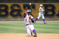 Winston-Salem Dash shortstop Yeyson Yrizarri (6) makes a throw to first base from his knee against the Salem Red Sox at BB&T Ballpark on July 23, 2017 in Winston-Salem, North Carolina.  The Dash defeated the Red Sox 11-10 in 11 innings.  (Brian Westerholt/Four Seam Images)