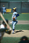 1982:  Pitcher Rollie Fingers #34 of the Milwaukee Brewers pitching in 1982. Fingers played for the Brewers from 1981-1985. (Photo by Rich Pilling)