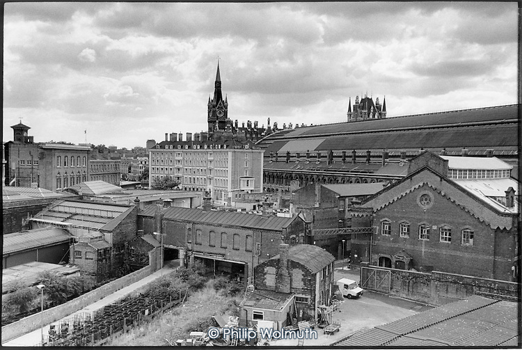 View of St Pancras Station and the German Gymnsaium, Kings Cross, 1990.