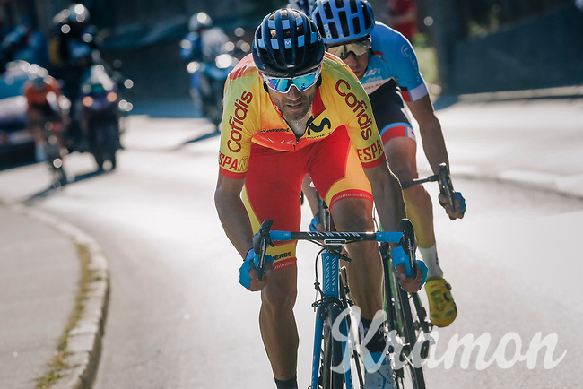 Alejandro Valverde (ESP/Movistar) leading the way in the last 2km<br /> <br /> MEN ELITE ROAD RACE<br /> Kufstein to Innsbruck: 258.5 km<br /> <br /> UCI 2018 Road World Championships<br /> Innsbruck - Tirol / Austria
