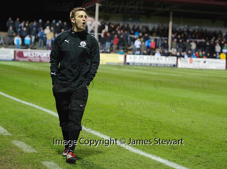 Stirling Albion boss GREIG McDONALD who at the age of 29 is Britain's youngest manager, takes his Stirling Albion side to play Arbroath in the Scottish Football League, Second Division..