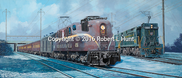 A Pennsylvania Railroad GG1 hauling a special load of VIP passengers moves past an E44 freight train on the northeast corridor somewhere in New Jersey. Oil on canvas, 17 x40.