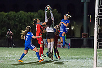 Boston, MA - Friday May 19, 2017: Christine Sinclair, Abby Smith and Megan Oyster during a regular season National Women's Soccer League (NWSL) match between the Boston Breakers and the Portland Thorns FC at Jordan Field.