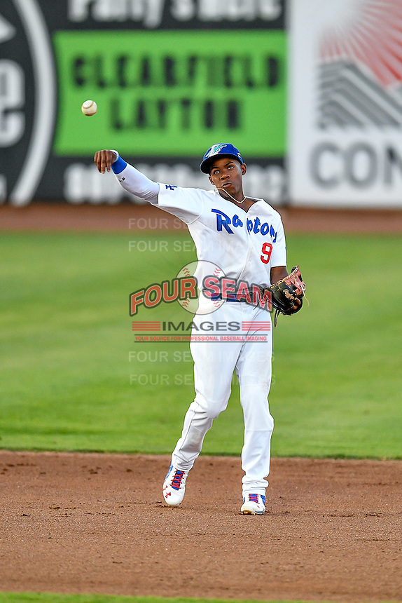 Errol Robinson (9) of the Ogden Raptors during the game against the Billings Mustangs in Pioneer League action at Lindquist Field on August 12, 2016 in Ogden, Utah. Billings defeated Ogden 7-6. (Stephen Smith/Four Seam Images)