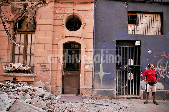 Destruction in dowtown Santiago after the strong earthquake that hit Southern Chile