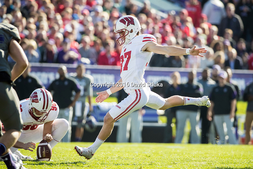 Wisconsin Badgers kicker Andrew Endicott (37) kicks a field goal during an NCAA Big Ten Conference college football game against the Northwestern Wildcats Saturday, November 5, 2016, in Evanston, Ill. The Badgers won 21-7. (Photo by David Stluka)