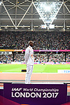 Mo Farah (GBR) with his gold medal following his win in the mens 10,000m. IAAF World athletics championships. London Olympic stadium. Queen Elizabeth Olympic park. Stratford. London. UK. 04/08/2017. ~ MANDATORY CREDIT Garry Bowden/SIPPA - NO UNAUTHORISED USE - +44 7837 394578