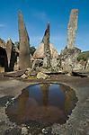 Megalith ancestor shrines, Bena Village, Bajawa, Flores