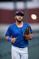 AZL Cubs 2 first baseman Richard Nunez (4) jogs off the field between innings of an Arizona League game against the AZL Reds on July 23, 2019 at Sloan Park in Mesa, Arizona. AZL Cubs 2 defeated the AZL Reds 5-3. (Zachary Lucy/Four Seam Images)
