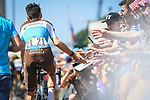Romain Bardet (FRA) AG2R La Mondiale arrives at sign on before the start of Stage 6 of the 2018 Tour de France running 181km from Brest to Mur-de-Bretagne Guerledan, France. 12th July 2018. <br /> Picture: ASO/Pauline Ballet | Cyclefile<br /> All photos usage must carry mandatory copyright credit (© Cyclefile | ASO/Pauline Ballet)