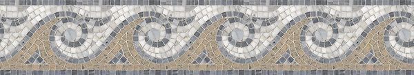 """7 1/2"""" Breaker's Wave border, a hand-cut mosaic shown in polished Bardiglio, Calacatta Tia, and honed Gascogne Blue by New Ravenna."""
