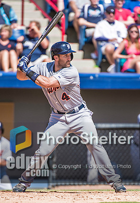 16 March 2014: Detroit Tigers infielder Stephen Lombardozzi at bat during a Spring Training Game against the Washington Nationals at Space Coast Stadium in Viera, Florida. The Tigers edged out the Nationals 2-1 in Grapefruit League play. Mandatory Credit: Ed Wolfstein Photo *** RAW (NEF) Image File Available ***
