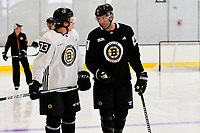 September 15, 2017: Boston Bruins right defenseman Charlie McAvoy (73) talks to center David Backes (42) during the Boston Bruins training camp held at Warrior Ice Arena in Brighton, Massachusetts. Eric Canha/CSM