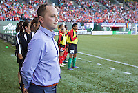 Portland, Oregon - Saturday July 2, 2016: Portland Thorns FC  head coach Mark Parsons during a regular season National Women's Soccer League (NWSL) match at Providence Park.