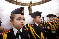 RUSSIA, Moscow, 10.2010. ©  Sergey Kozmin/EST&OST.The Moscow Girls Cadet Boarding School..Every year a magnificent affiliation ceremony for the new cadets of the boarding  school No. 9 for girls is held at the War History museum in Moscow. White bows are a symbol of purity.