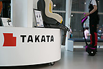 June 26, 2017, Tokyo, Japan – Takata display is seen inside a showroom on June 26, 2017. Japanese airbag manufacturer Takata Corporation files for bankruptcy protection in Japan and the United States following the company's global recall involving its defective airbags and massive liabilities. (Photo by AFLO)