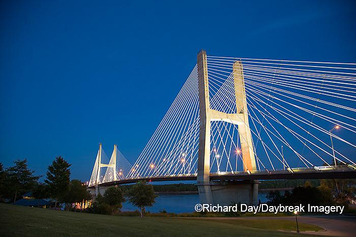65095-02501 Bill Emerson Memorial Bridge at dusk-night over Mississippi River Cape Girardeau, MO