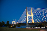 65095-02501 Bill Emerson Memorial Bridge at dusk-night over Mississippi River Cape Girardeau, MO